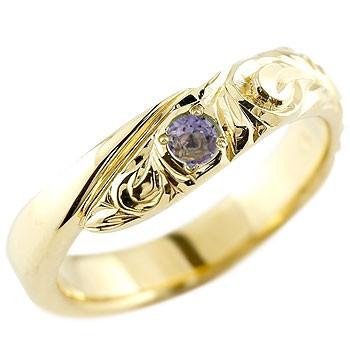 ハワイアンジュエリー メンズ アイオライト イエローゴールドk18リング 指輪 ハワイアンリング スパイラル k18 男性用 宝石 送料無料