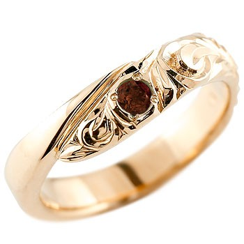 永遠に輝き続ける深彫りのハワイアンジュエリー ハワイアンジュエリー メンズ ガーネット ピンクゴールドk18リング 指輪 ハワイアンリング スパイラル k181月誕生石 男性用 宝石 送料無料