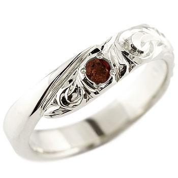 ハワイアンジュエリー メンズ ガーネット ホワイトゴールドk18リング 指輪 ハワイアンリング スパイラル k181月誕生石 男性用 宝石 送料無料