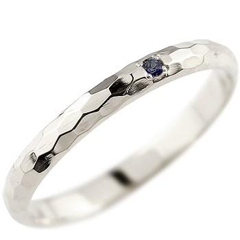 メンズ サファイア ピンキーリング プラチナリング 指輪 一粒 9月誕生石 ストレート 2.3 男性用 宝石 送料無料