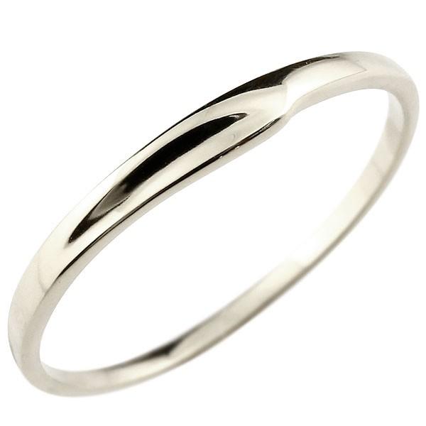 ピンキーリング ホワイトゴールドk18 18金 極細 華奢 指輪 男性用