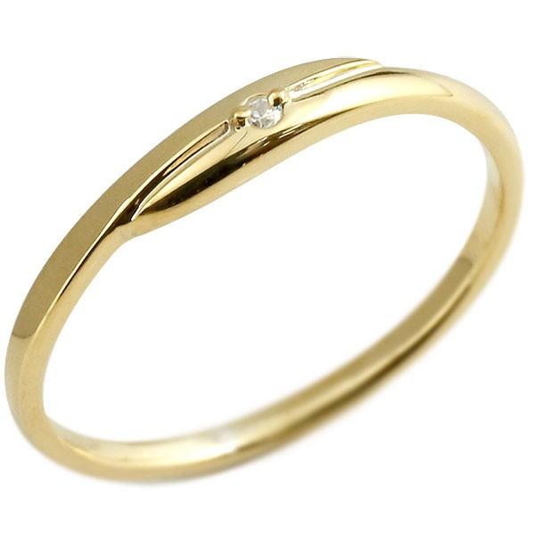 まるで着けていない様な着け心地 細身リング ダイヤモンド ピンキーリング イエローゴールドk10 一粒 10金 極細 華奢 スパイラル 指輪 男性用 送料無料