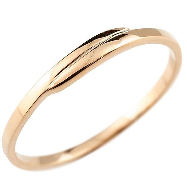 ピンキーリング ピンクゴールドk18 18金 極細 華奢 スパイラル 指輪 男性用 送料無料