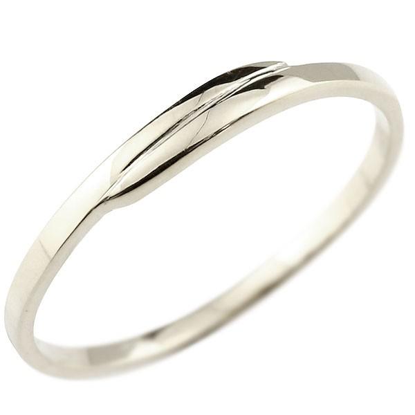 ピンキーリング ホワイトゴールドk18 18金 極細 華奢 スパイラル 指輪 男性用 送料無料