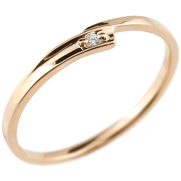 ダイヤモンド ピンキーリング ピンクゴールドk10 一粒 10金 極細 華奢 スパイラル 指輪 男性用 送料無料 父の日