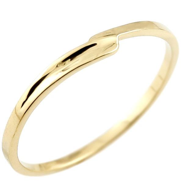 ピンキーリング イエローゴールドk18 18金 極細 華奢 スパイラル 指輪 男性用 送料無料