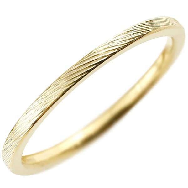 メンズ イエローゴールドk18 ピンキーリング 極細 華奢 アンティーク ストレート 指輪 地金リング 男性用 送料無料 父の日