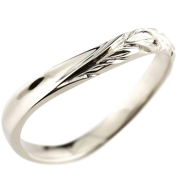 ハワイアンジュエリー メンズ ホワイトゴールドk18リング 指輪 ハワイアンリング V字 地金 k18 男性用 送料無料