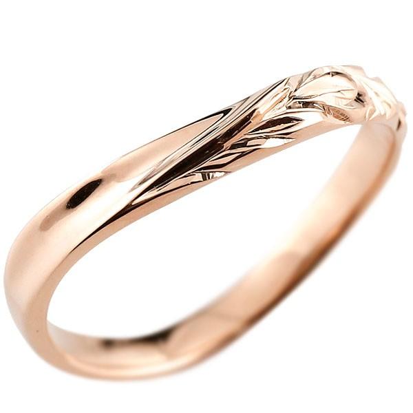 ハワイアンジュエリー メンズ ピンクゴールドk18リング 指輪 ハワイアンリング V字 地金 k18 男性用 送料無料
