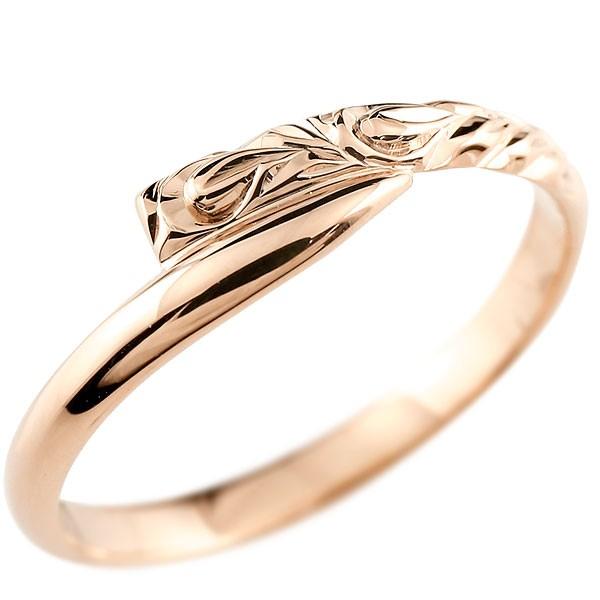 ハワイアンジュエリー メンズ ピンクゴールドk18リング 指輪 ハワイアンリング スパイラル 地金 k18 男性用 送料無料