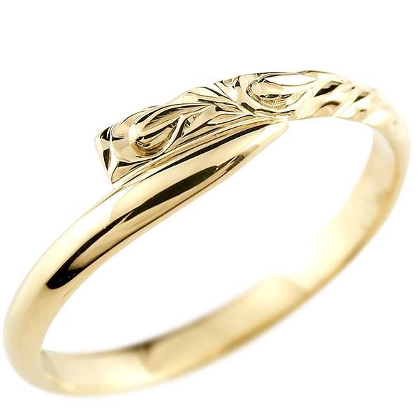 ハワイアンジュエリー メンズ イエローゴールドk18リング 指輪 ハワイアンリング スパイラル 地金 k18 男性用 送料無料