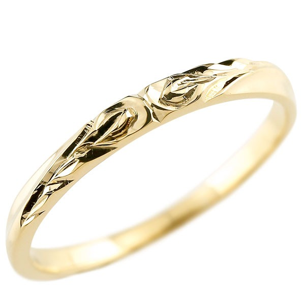 ハワイアンジュエリー メンズ イエローゴールドk10リング 指輪 ハワイアンリング 地金 ストレート k10 男性用 送料無料