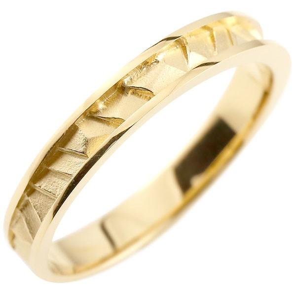 メンズ 指輪 イエローゴールドk18 リング ピンキーリング 地金リング 18金 つや消し シンプル 宝石なし メンズ ストレート 男性用 送料無料