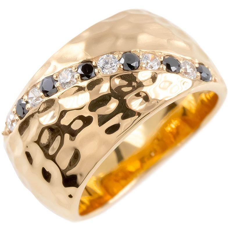 ゴールド リング メンズ ダイヤモンド ブラックダイヤモンド 幅広 指輪 槌目 槌打ち ロック仕上げ つや消し ピンクゴールドk10 ピンキーリング 送料無料