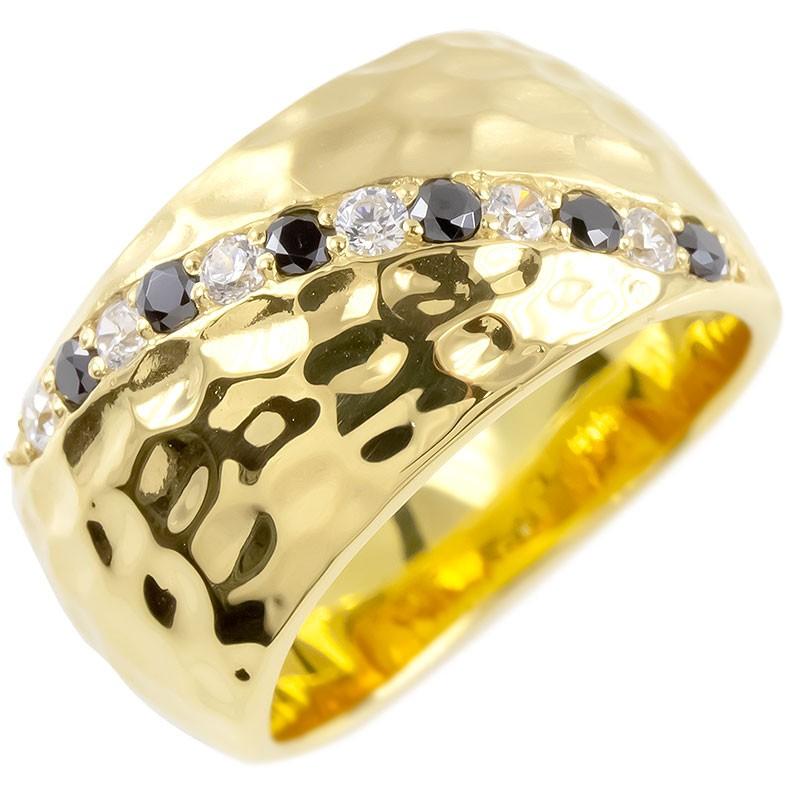 ゴールド リング メンズ ダイヤモンド ブラックダイヤモンド 幅広 指輪 槌目 槌打ち ロック仕上げ つや消し イエローゴールドk10 ピンキーリング 送料無料 父の日