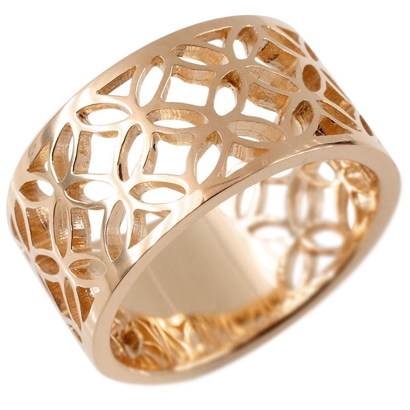18金 リング 七宝文様 メンズ 指輪 ゴールド 18K ピンクゴールドk18 ピンキーリング 幅広 透かし 和風 和柄 地金 男性用 コントラッド 東京 送料無料