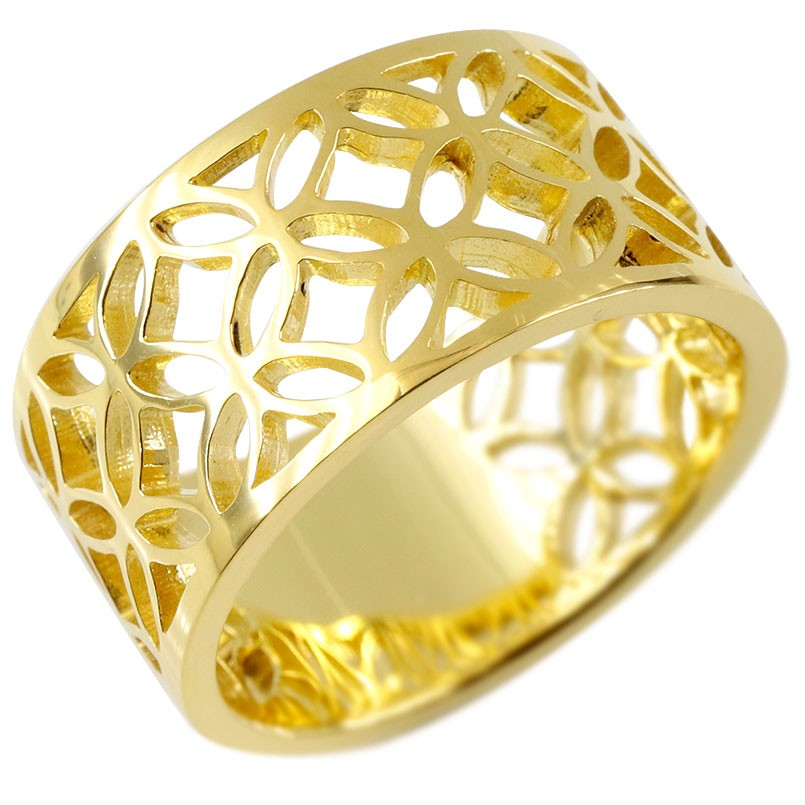 18金 リング 七宝文様 メンズ 指輪 ゴールド 18K イエローゴールドk18 ピンキーリング 幅広 透かし 和風 和柄 地金 男性用 コントラッド 東京 送料無料