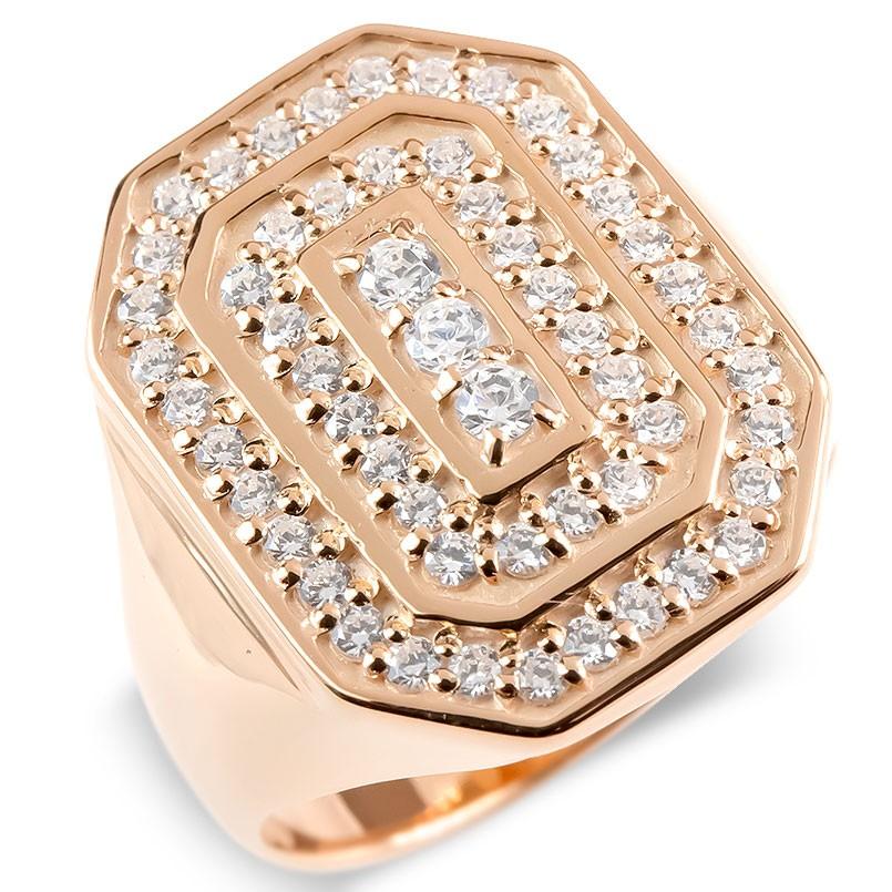 18金 リング メンズ キュービックジルコニア 印台 指輪 ゴールド 18k ピンクゴールドk18 太め ピンキーリング 男性 幅広 カレッジリング 上品 送料無料