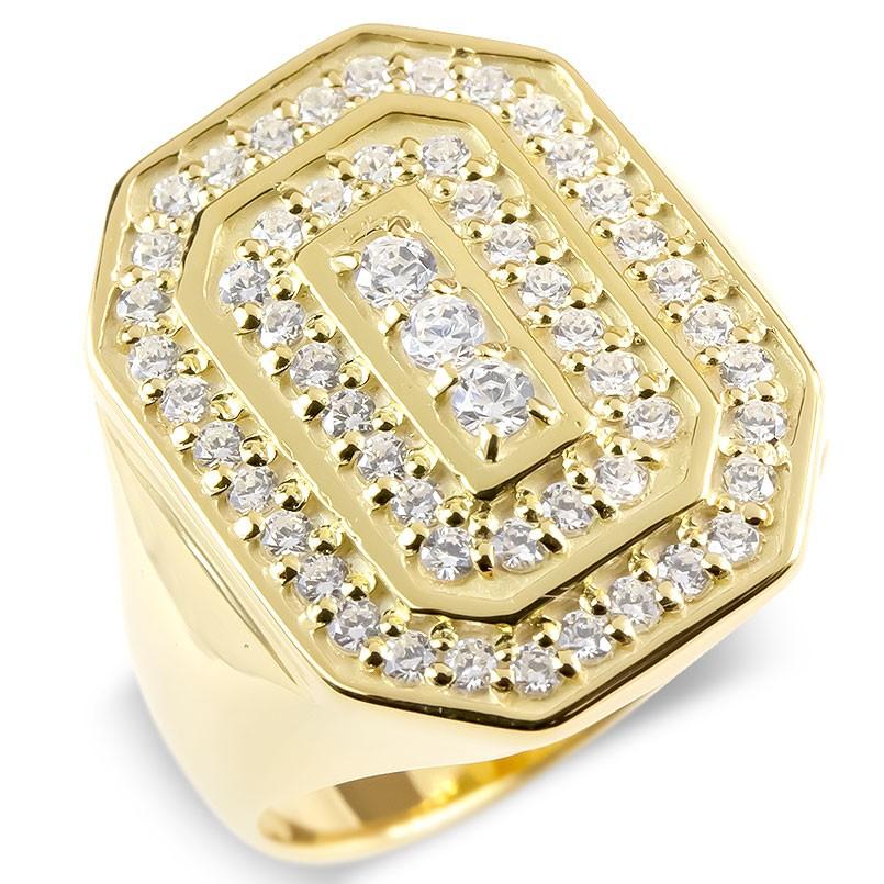 18金 リング メンズ キュービックジルコニア 印台 指輪 ゴールド 18k イエローゴールドk18 太め ピンキーリング 男性 幅広 カレッジリング 上品 送料無料