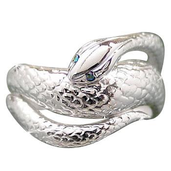 メンズリング 人気 ダイヤモンド リング指輪 蛇 ホワイトゴールドK18 18金ピンキーリング ダイヤ 男性用 宝石 送料無料