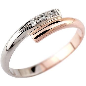 メンズリング 人気 リング ピンキーリング ダイヤモンド リング プラチナ ピンクゴールド指輪 18金ダイヤ ストレート 男性用 送料無料
