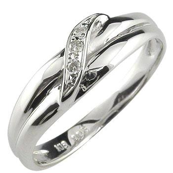 メンズリング 人気 リング指輪 ダイヤモンド リング ホワイトゴールドK18 18金ピンキーリング ダイヤ ストレート 男性用 送料無料