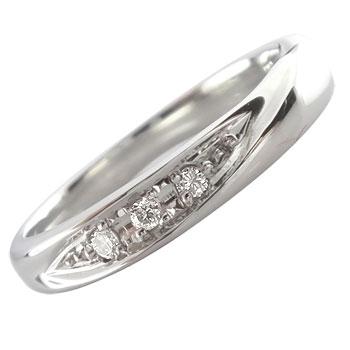 メンズリング 人気 リング指輪 ダイヤモンド リング ホワイトゴールドK18 ダイヤモンド 0.03ct 18金ピンキーリング ダイヤ ストレート 送料無料