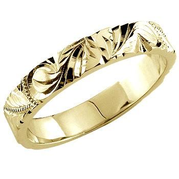 永遠に輝き続ける深彫りのハワイアンジュエリー ハワイアンジュエリー メンズ リング 指輪 イエローゴールドk18 18金ストレート 男性用 送料無料
