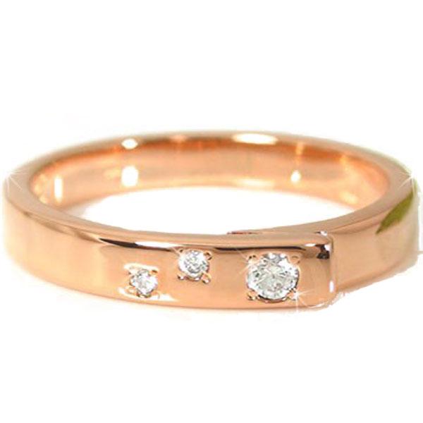 メンズリング 人気 リングダイヤモンド リング ピンクゴールドK18 指輪 18金ピンキーリング ダイヤ ストレート 男性用 送料無料