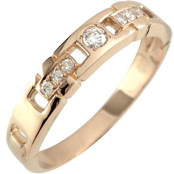 メンズリング 人気 リング ダイヤモンドリング ピンクゴールドK18 指輪 18金ピンキーリング ダイヤ ストレート 男性用 送料無料