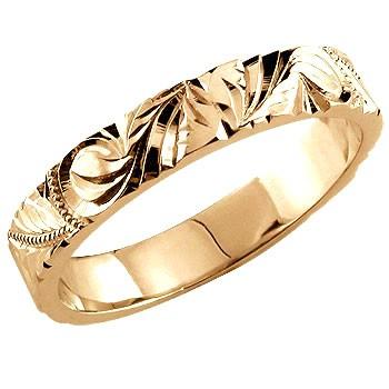 永遠に輝き続ける深彫りのハワイアンジュエリー ハワイアンジュエリー メンズ ピンクゴールドK18 日本メーカー新品 ハワイアンリング 指輪 ハワイ K18PG 送料無料 セール 男性用 18金ストレート