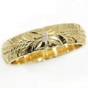 ハワイアンジュエリー メンズ リング 一粒 イエローゴールドk18 指輪 18金ストレート 男性用 送料無料