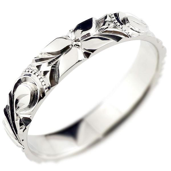 ハワイアンジュエリー メンズ ハワイアンリング 指輪 ホワイトゴールドK18 ハワイ 18金ストレート 男性用 送料無料