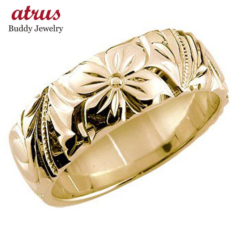 ハワイアンジュエリー メンズ ハワイアンリング 指輪 リング 幅広指輪 ピンクゴールドk18 地金リング 18金 k18pg ストレート 送料無料