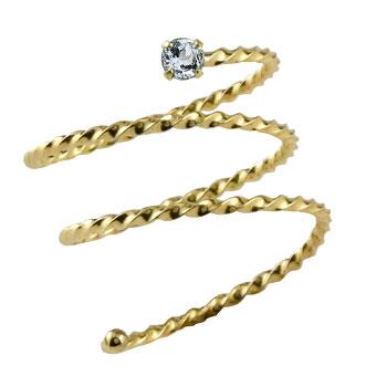 メンズリング ファランジリング アクアマリン イエローゴールドk18 ミディリング 関節リング 指輪 ピンキーリング 18金 ストレート 男性用 宝石 送料無料