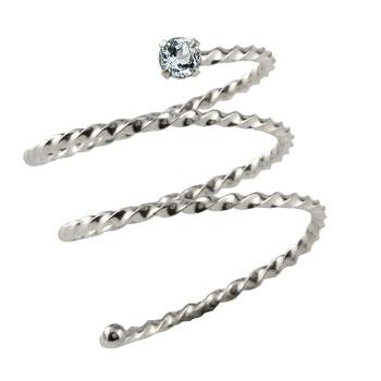 メンズリング ファランジリング アクアマリン ホワイトゴールドk18 ミディリング 関節リング 指輪 ピンキーリング 18金 ストレート 男性用 宝石 送料無料