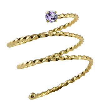 指先に着ける新感覚のリング 天然石 メンズ メンズリング ファランジリング アメジスト イエローゴールドk18 ミディリング 現金特価 男性用 大幅にプライスダウン ストレート 指輪 ピンキーリング 送料無料 18金 関節リング 宝石
