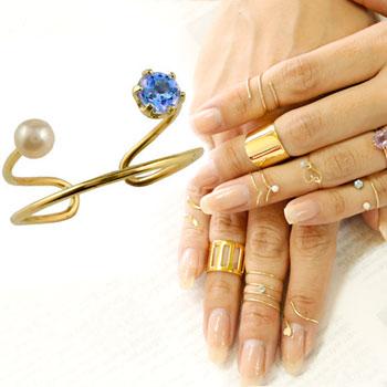 メンズリング ファランジリング アイオライト ベビーパール イエローゴールドk18 ミディリング 関節リング 指輪 ピンキーリング 2連 18金 ストレート 宝石