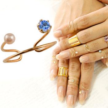 メンズリング ファランジリング アイオライト ベビーパール ピンクゴールドk18 ミディリング 関節リング 指輪 ピンキーリング 2連 18金 ストレート 宝石