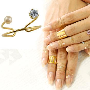 メンズリング ファランジリング アクアマリン ベビーパール イエローゴールドk18 ミディリング 関節リング 指輪 ピンキーリング 2連 18金 ストレート 宝石