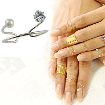 メンズリング ファランジリング アクアマリン ベビーパール ホワイトゴールドk18 ミディリング 関節リング 指輪 ピンキーリング 2連 18金 ストレート 宝石