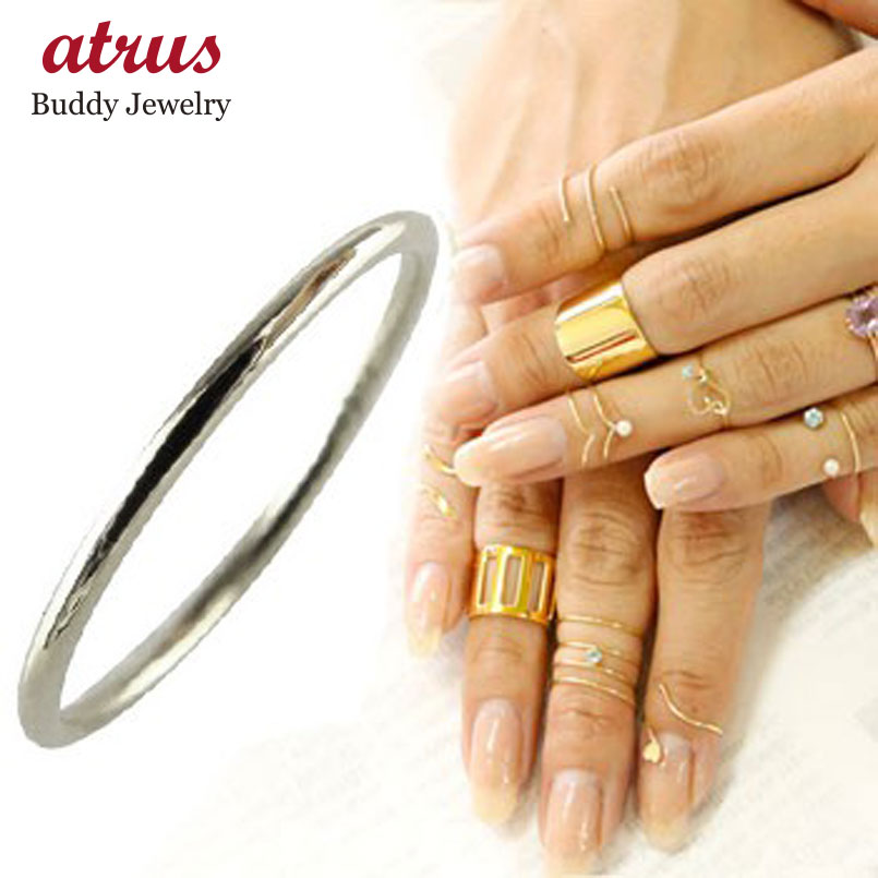 メンズリング ファランジリング ミディリング ホワイトゴールドk18 関節リング 指輪 華奢 宝石なし 地金リング 甲丸 人気 18金 ストレート 送料無料 父の日
