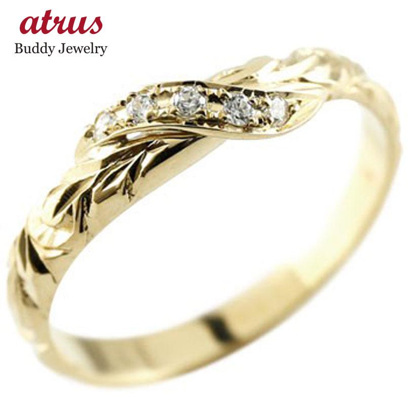 ハワイアンジュエリー メンズ ピンキーリング ダイヤモンド イエローゴールドk18 リング 指輪 ハワイアンリング ダイヤ k18 18金 送料無料