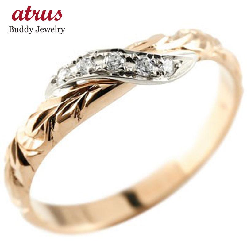 ハワイアンジュエリー メンズ ピンキーリング ダイヤモンド プラチナ リング ピンクゴールドk10 指輪 ハワイアンリング ダイヤ 10金 送料無料