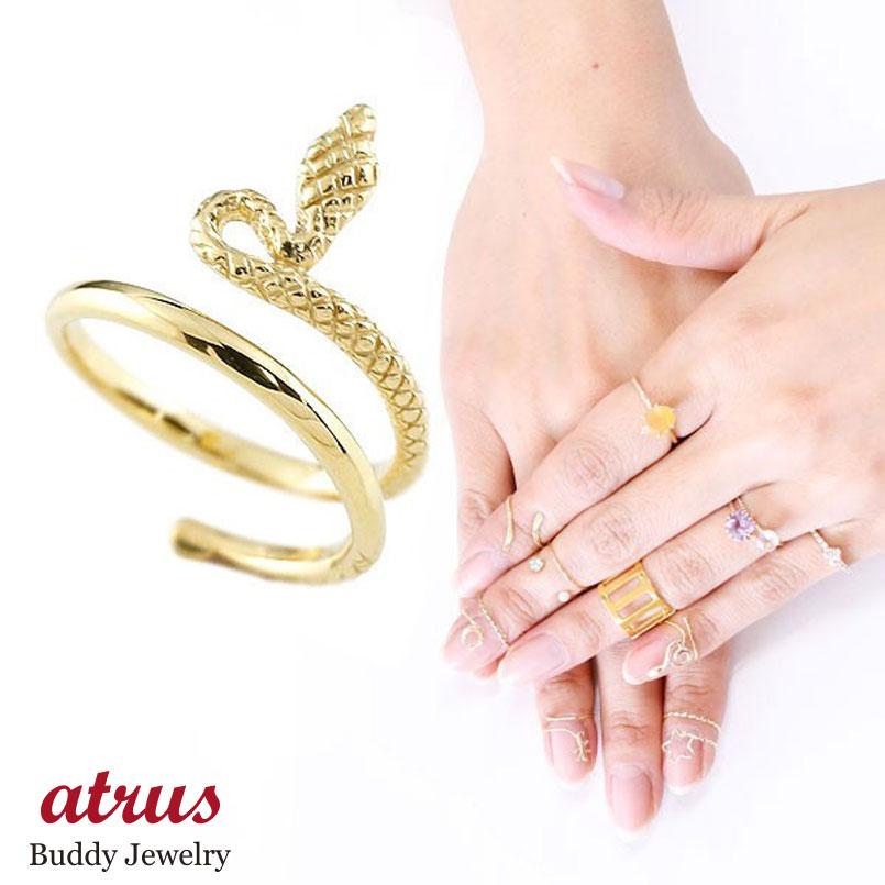 メンズ ファランジリング ヘビ 蛇 ミディリング 関節リング 指輪 イエローゴールドK18 地金リング ピンキーリング 18金 ネイルリング フリーサイズ