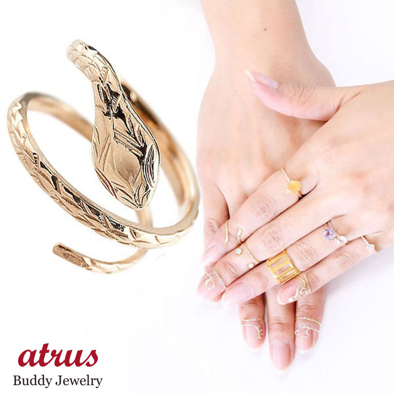 メンズ ファランジリング ヘビ 蛇 ミディリング 関節リング 指輪 ピンクゴールドk18 地金リング ピンキーリング 18金 ネイルリング フリーサイズ