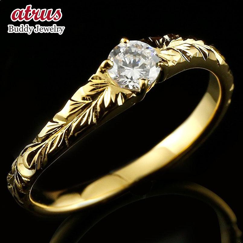 ハワイアンジュエリー メンズ ピンキーリング ダイヤモンド リング 指輪 イエローゴールドk18 ハワイアンリング ダイヤ 一粒 大粒 18金 18k 送料無料