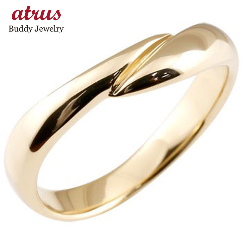 メンズ リング 指輪 イエローゴールドk10 ピンキーリング 地金リング 宝石なし スパイラル ウェーブリング10金 男性用 送料無料