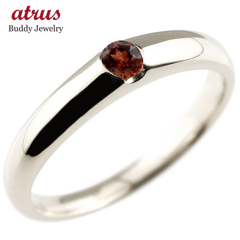 指輪 プラチナ シンプル 送料無料 手作り 人気 メンズ ガーネット リング プラチナ 指輪 ピンキーリング 1月誕生石 ストレート 宝石 送料無料