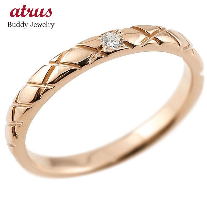 メンズ ピンクゴールドk10 ピンキーリング ダイヤモンド10金 k10 アンティーク ストレート チェック柄 指輪 ダイヤリング 送料無料 父の日